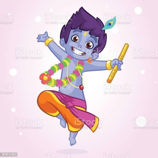 Little cartoon krishna with eyes closed dancing with a flute greeting vector id819111912?b=1&k=6&m=819111912&s=612x612&h=7idxkj26pvdmlprnk8by0xbyqatwi pktr4zogym71w=