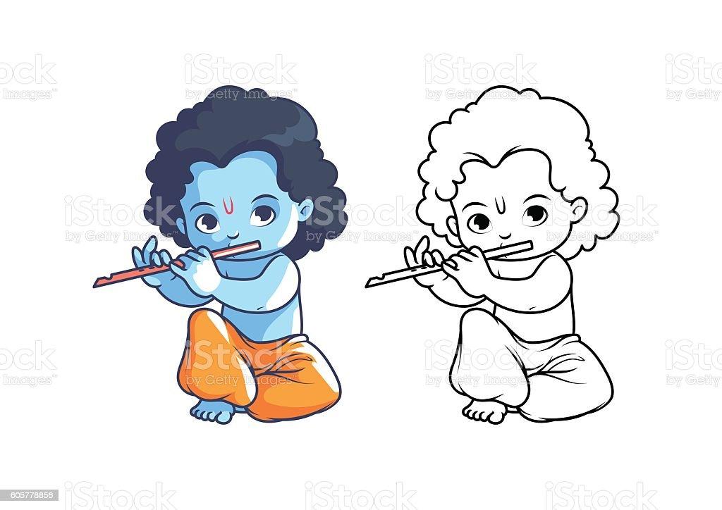 Cartoon Characters Krishna : Little cartoon krishna with flute stock vector art more