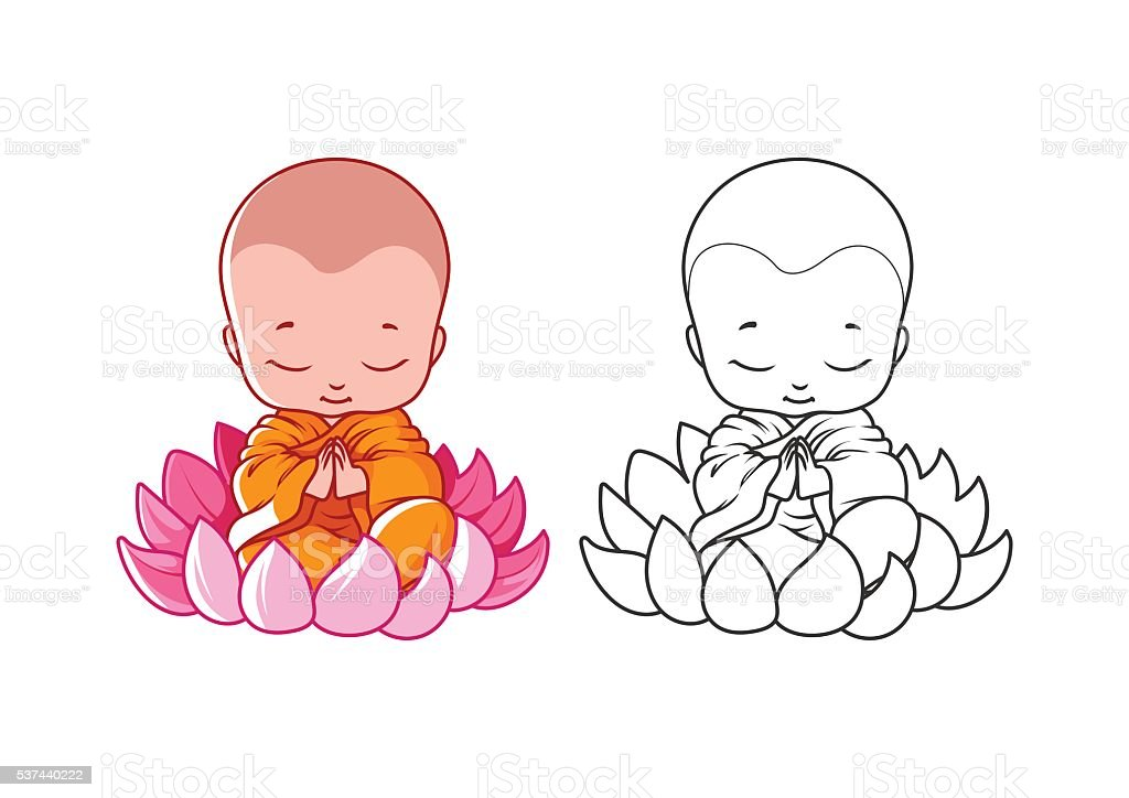 Little Cartoon Monk On The Lotus Page For Coloring Book Stock Vector