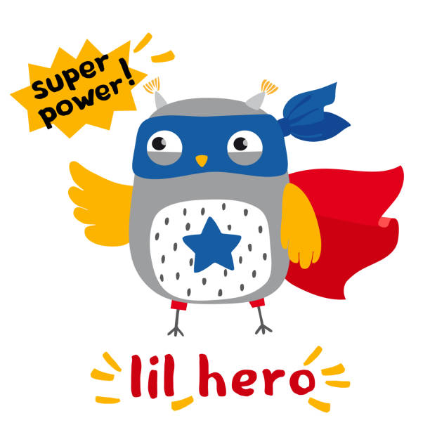 little cartoon owl superhero card - illustrazione arte vettoriale