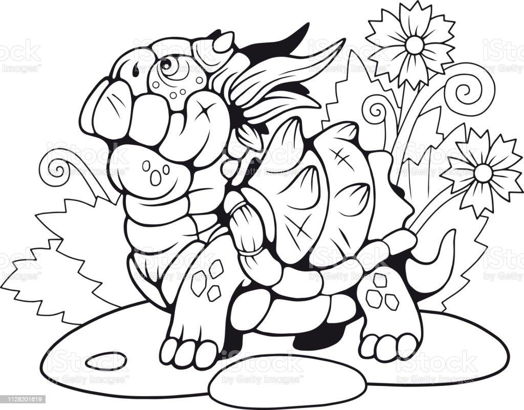 Vetores De Pequeno Dragao De Tartaruga De Desenhos Animados