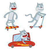 little cat in action. available in vector eps 10 file