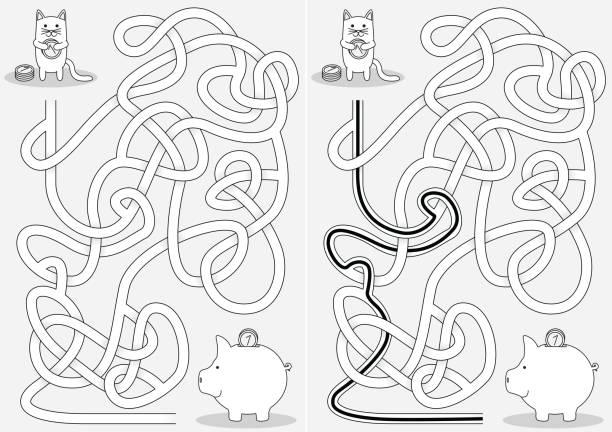 Pequeno labirinto de gato - ilustração de arte em vetor
