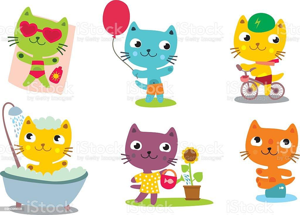 little cat vector art illustration