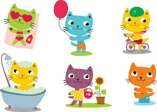 bildbanksillustrationer, clip art samt tecknat material och ikoner med little cat - baby bathtub