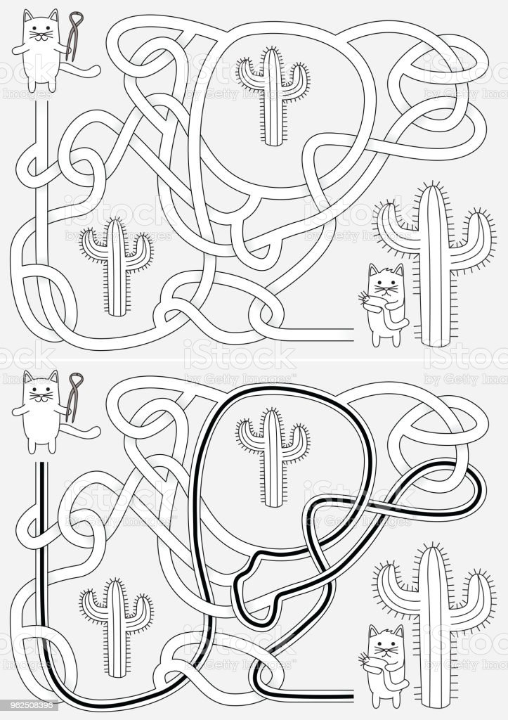 Little cats maze - Royalty-free Assistance stock vector