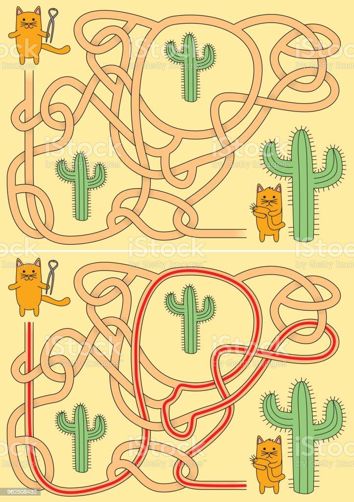 Pequeno labirinto de gatos - Vetor de Alicate royalty-free
