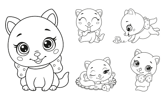 Little cats set coloring page for kids