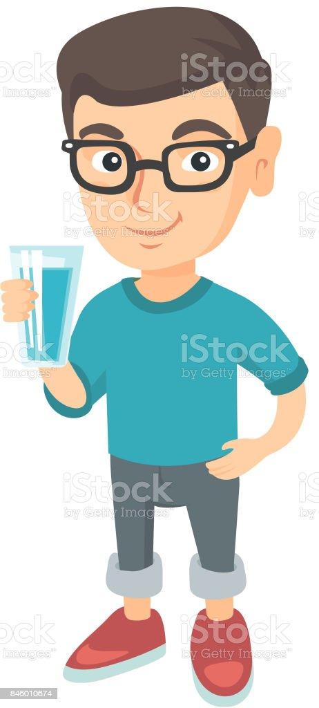 Little caucasian boy holding a glass of water vector art illustration