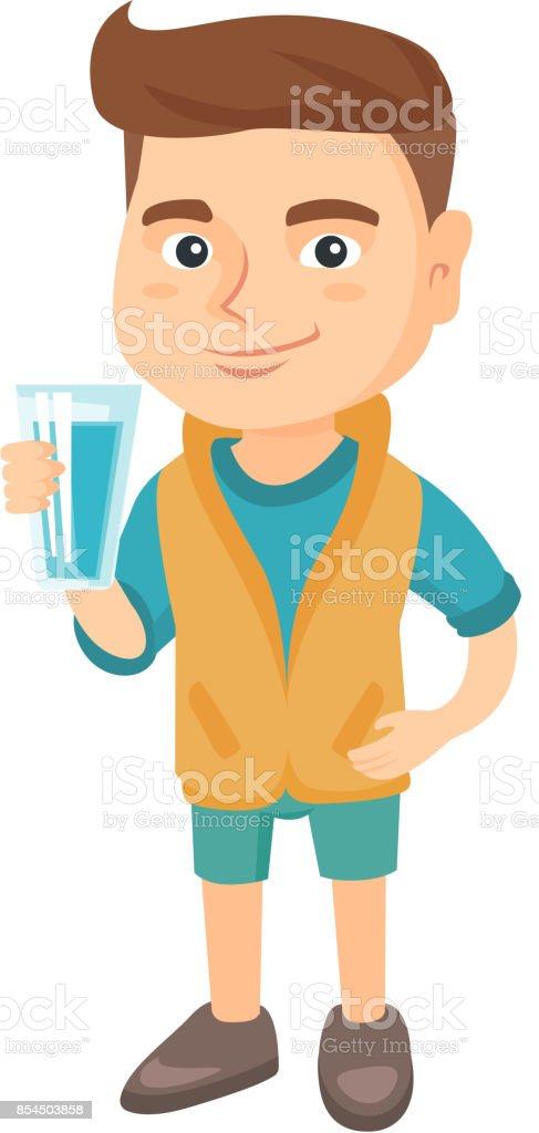 Little caucasian boy holding a glass of water vector art illustration