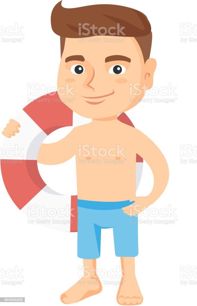 Little caucasian boy holding a red-white lifebuoy vector art illustration