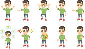 Little caucasian boy vector illustrations set