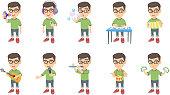 Little caucasian boy vector illustrations set