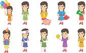 Little caucasian girl set. Girl holding balloons, gift box, having stomach ache, wearing superhero costume, brushing teeth. Set of vector sketch cartoon illustrations isolated on white background.