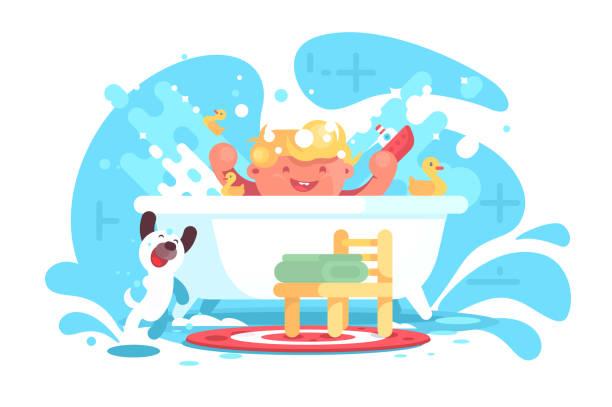 bildbanksillustrationer, clip art samt tecknat material och ikoner med lite glad bebis ha kul i badet - baby bathtub