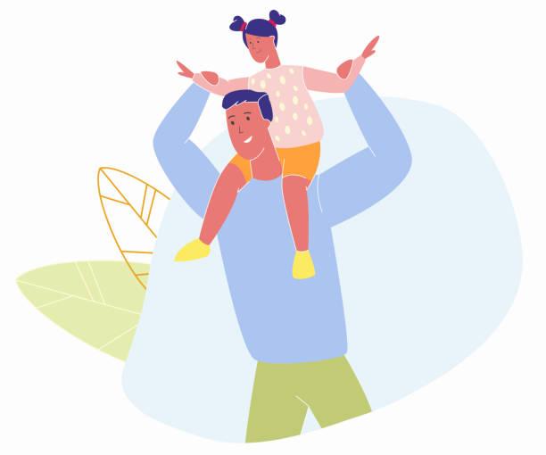 ilustrações de stock, clip art, desenhos animados e ícones de little cheerful girl sitting on dad shoulders - tronco nu