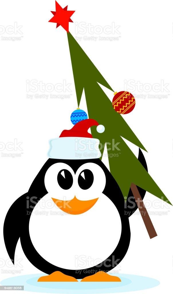 Vetores De Pinguim Alegre Com Arvore De Natal Com Chapeu De Papai
