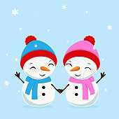 Little Cheerful Snowboy and Snowgirl. vector illustration