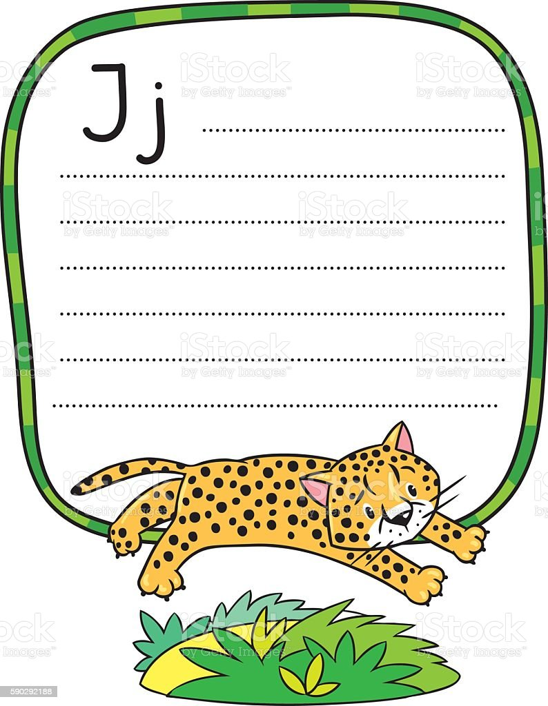 Little cheetah or jaguar for ABC. Alphabet J royaltyfri little cheetah or jaguar for abc alphabet j-vektorgrafik och fler bilder på afrika