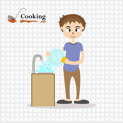 Little chef cooking at kitchen. anime, cartoon, background - vector illustration Eps 10