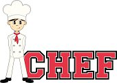 Cute Little Culinary Chef Learn to Read Illustration.