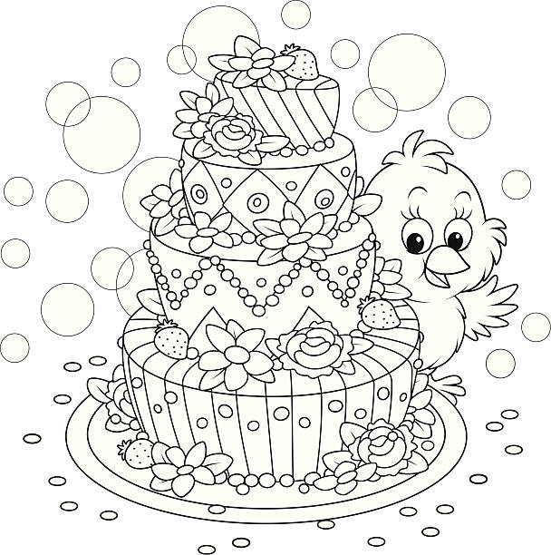 Little Chick with a cake Small yellow chicken and a fancy pie for a holiday cartoon of birthday cake outline stock illustrations