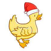 little chicken wearing Santa's hat for Christmas