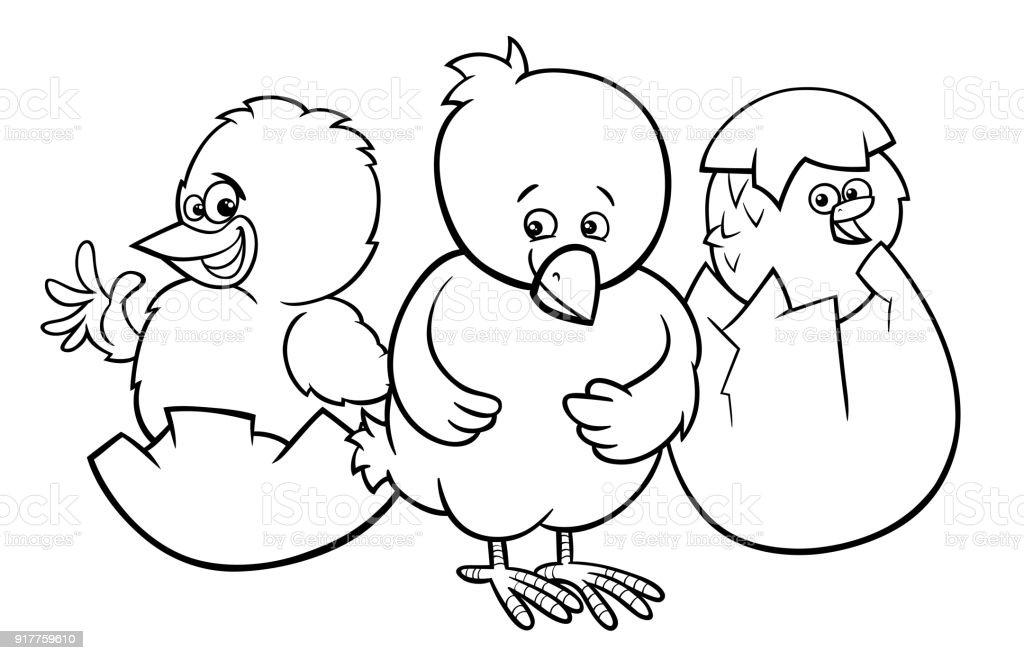 Kucuk Yumurta Renk Kitaptan Yumurtadan Tavuk Stok Vektor Sanati