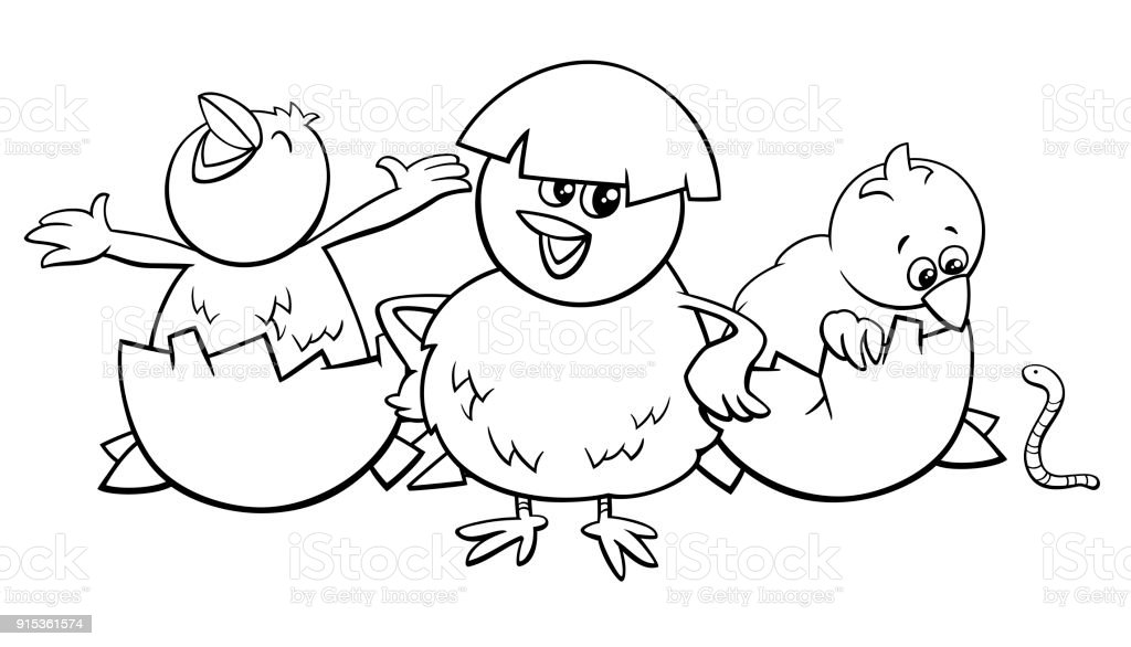 Little Chicks Hatching From Eggs Color Book Stock Vector Art & More ...