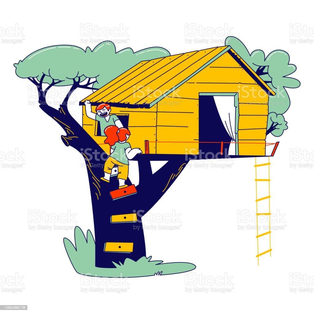 Little Children Climbing On Tree House At Home Yard Characters Playing On Child Playground Treehouse With Wooden And Rope Ladders Place For Kids Summer Games Linear People Vector Illustration Stock Illustration Most relevant best selling latest uploads. little children climbing on tree house at home yard characters playing on child playground treehouse with wooden and rope ladders place for kids summer games linear people vector illustration stock illustration