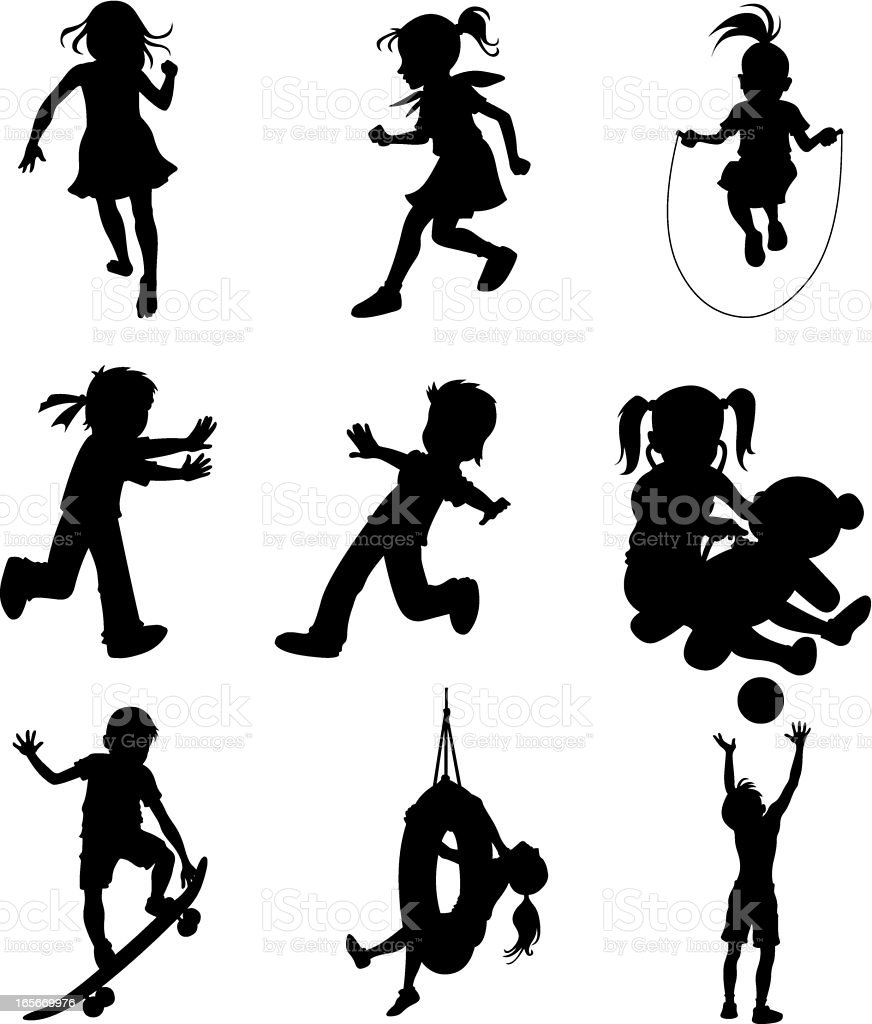 Little children doing different sports activities (cartoon style) royalty-free stock vector art