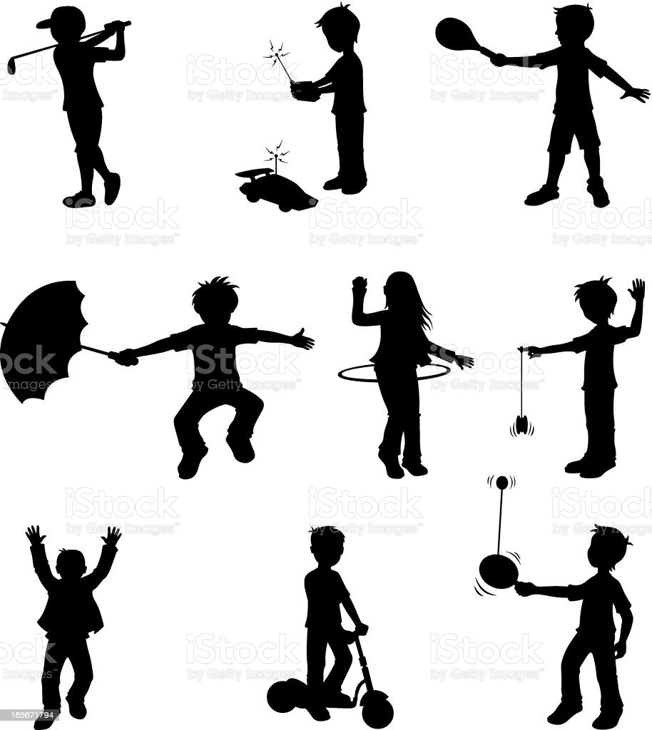 Little children doing different sports activities vector art illustration