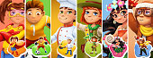 Little children in costumes. Superhero, football player, cook, scout, pilot. 3d vector icon set