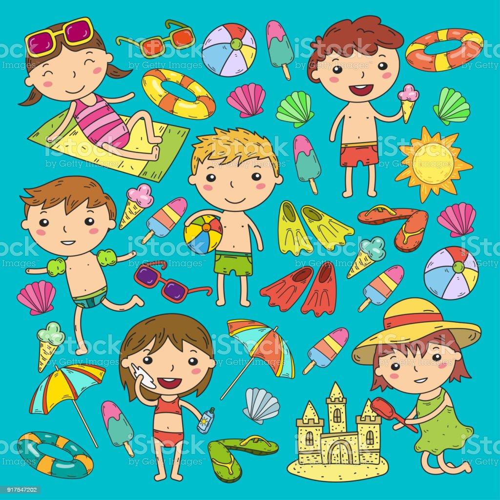 Little Children Play Summer Camp Beach Vacation Kindergarten And ...