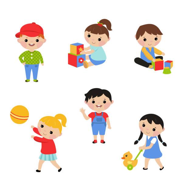 Little children play with toys vector art illustration