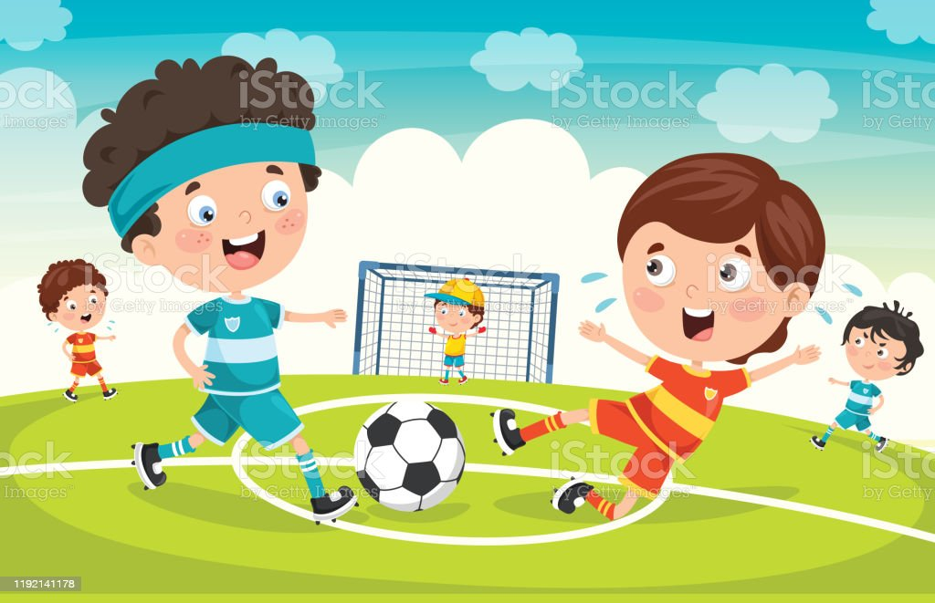 Little Children Playing Football Outdoor Stock Illustration Download Image Now Istock