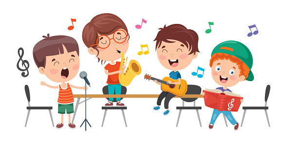 Little Children Playing Music At Classroom