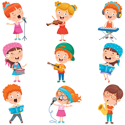 Little Children Playing Various Instruments