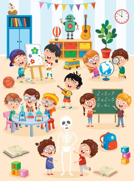 ilustraciones, imágenes clip art, dibujos animados e iconos de stock de niños pequeños estudiando y jugando en el aula preescolar - clase de arte