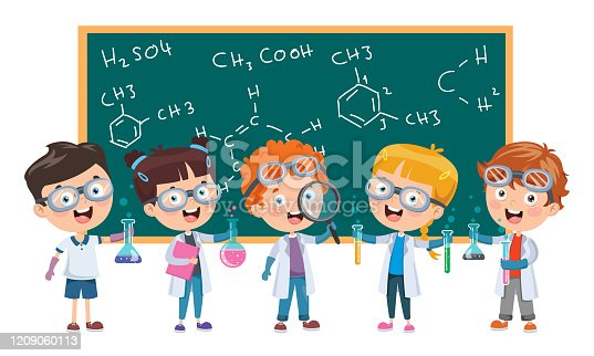 Little Children Studying Chemisty Class