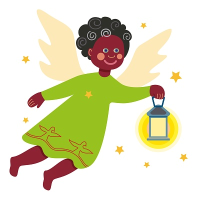 Little christmas angel with a lantern. The black.