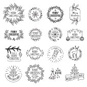 Hand drawn vector icons, emblems, text design