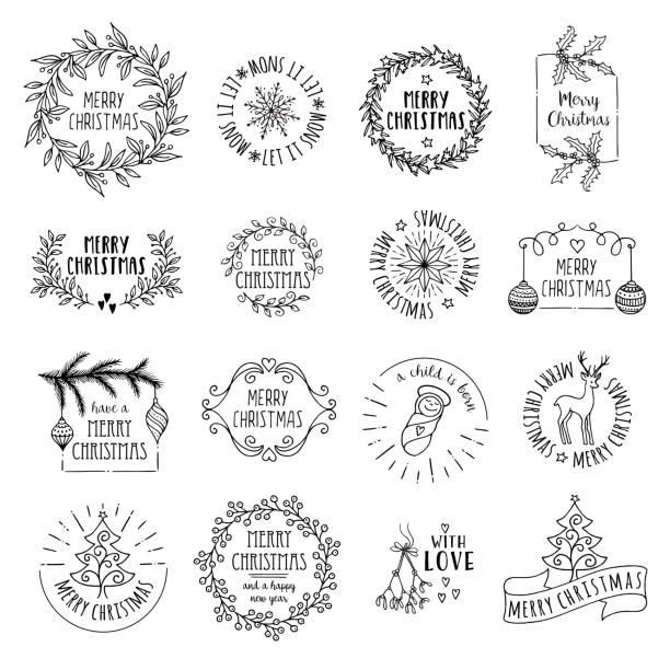 Little Christmas logos vector art illustration