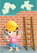 """""""a little girl is building a brick wall, and she is wearing a safety helmet."""""""