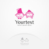 Little couple logo, Cartoon illustration of a cute and sweet bridal couple. Romantic and Love logo template