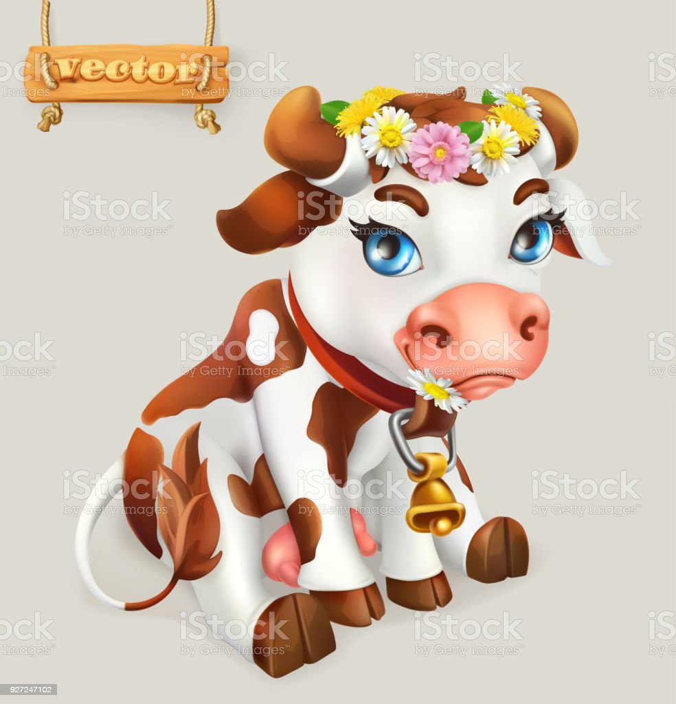Little Cow. Funny character. 3d vector icon vector art illustration