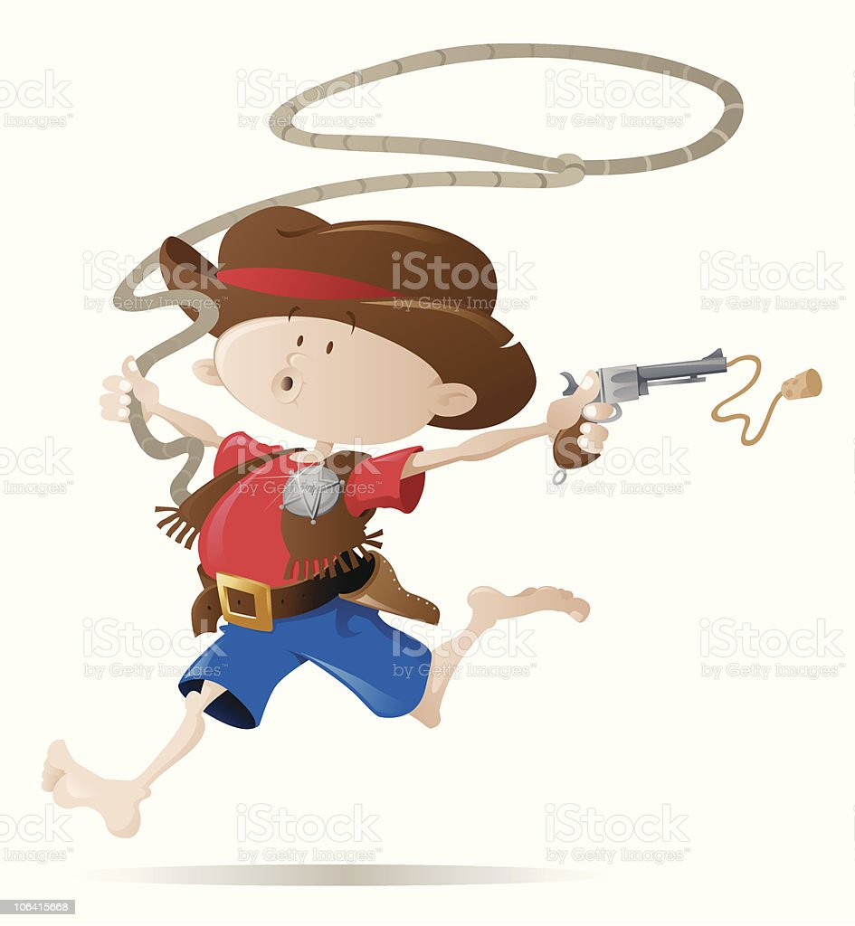 Little Cowboy Sheriff royalty-free stock vector art