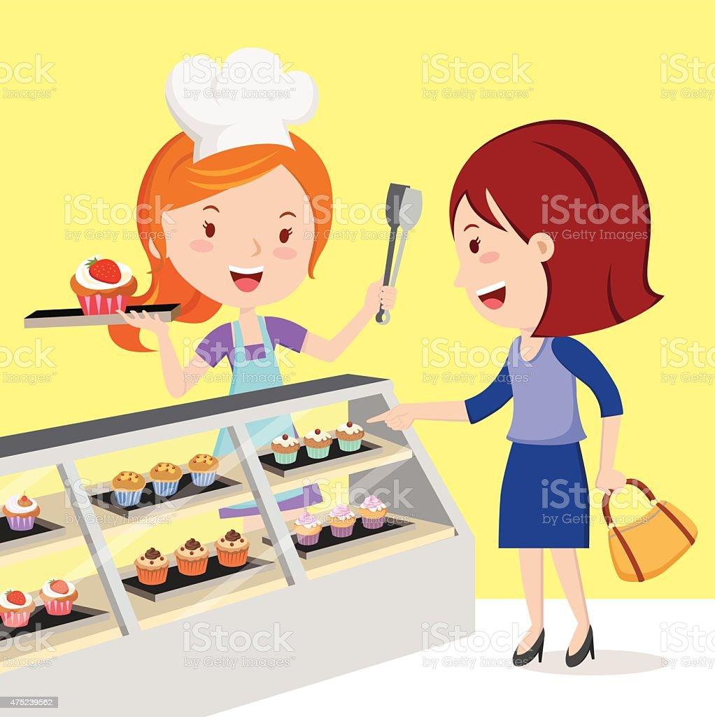 Little cupcake bakeshop vector art illustration