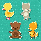 Little cute baby cat, bear, fox and duck stickers.
