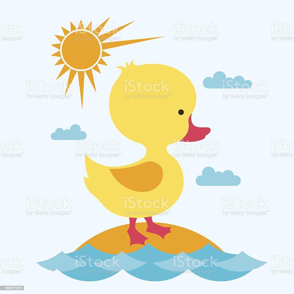 Little cute baby duck at sea. vector art illustration